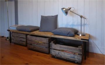 recupfactory pau décoration vintage bois palette caisses bois de récupération sous banquette planche sapin