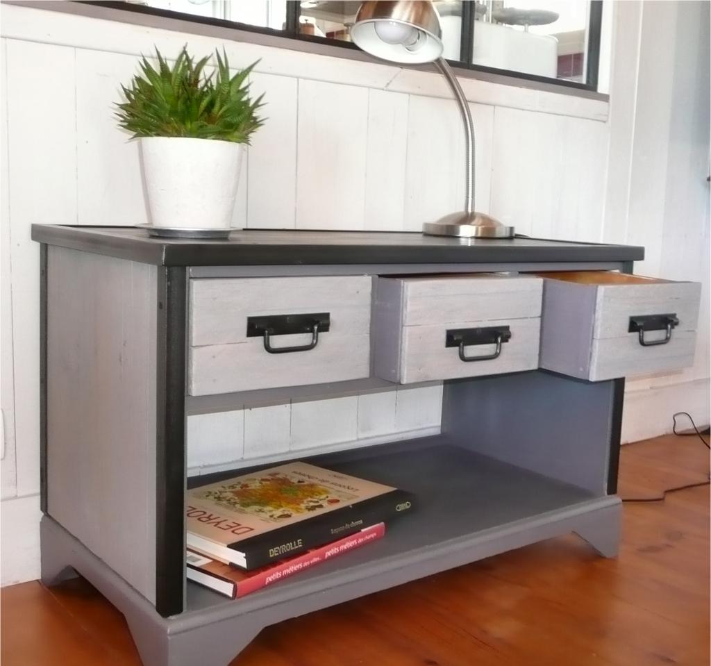 meuble bas fini cornieres acier peinture et plaque graphitee 3 recupfactory d coration. Black Bedroom Furniture Sets. Home Design Ideas