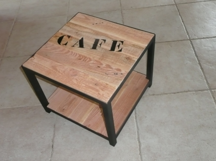 recupfactory pau décoration vintage bois palette table basse bois palette acier industriel customisé