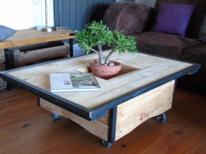 table basse bois palette acier roulette recup et factory 2