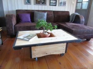 table basse bois palette acier roulette recup et factory