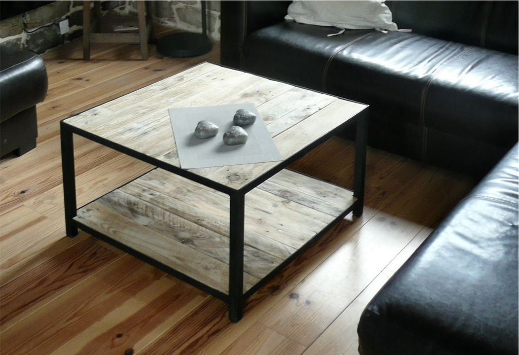 Table basse palette acier salon recupfactory d coration - Table basse palette industrielle vintage ...