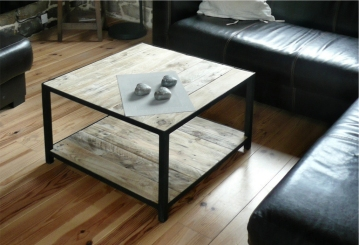 recupfactory pau décoration vintage bois palette table basse double plateau bois palette récupération style factory