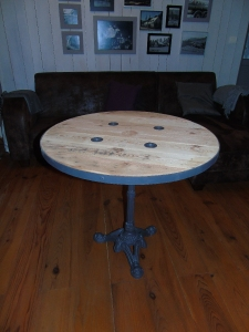 table touret ardoise palette vintage recup factory pied fonte