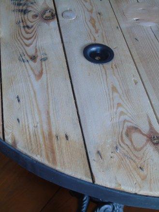 table touret ardoise palette vintage detail cerclage acier recup factory