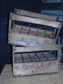 casier bois 10 et 15 bouteilles anciens retro pour deco recup et factory