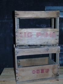 casier bois 6 bouteilles anciens retro pour deco recup et factory