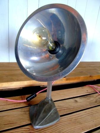 lampe de chauffage cobra relookee lampe d'ambiance ampoule edison pied ceramique gris luminaire vintage recupfactory