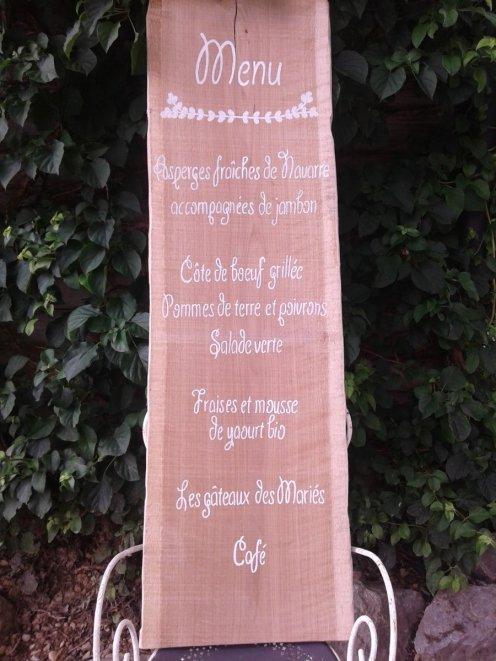 menu mariage customisation recup palette